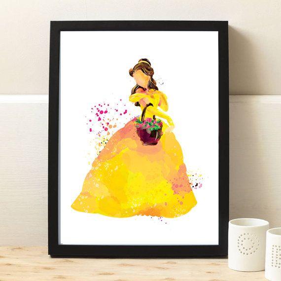 Disney Princess Beauty and the Beast Belle Watercolor Nursery Art,Baby Girl Nursery,belle prints,disney princess nursery,baby shower,ET130
