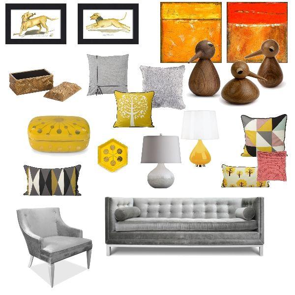 Sunny & Bright a Gray & Yellow living room created at ProjectDecor.com