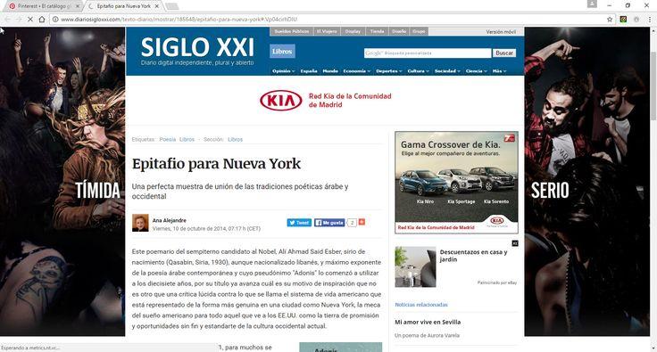 """CRÍTICA DEL POEMARIO """"EPITAFIO PARA NUEVA YORK"""", DE ADONIS"""