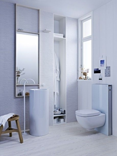 Geberit Monolith the flat tank makes this the perfect space saving toilet.