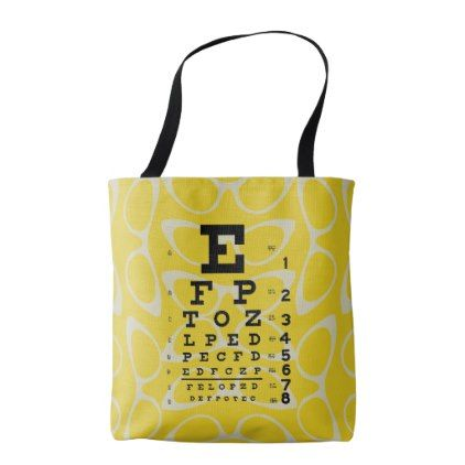 Ophthalmology Retro Eye Chart Cat Eyes Yellow Tote Bag - cat cats kitten kitty pet love pussy