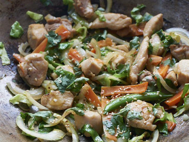 Enkel og sunn kyllingwok - Kyllingwok med deilige smaker av sitrongress, ingefær og chili.