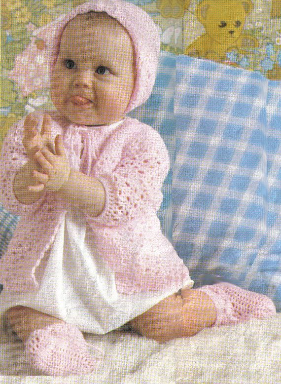 Matinee Set Crochet pattern for baby with bonnet/hat by carolrosa, $1.75