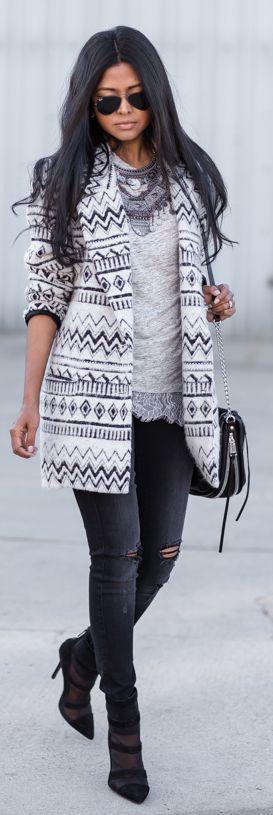 Black And White Aztec Print Coat