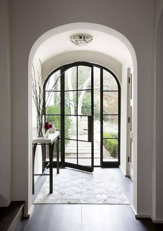 16 Enchanting Modern Entrance Designs That Boost The Appeal Of The Home: Glass Front Door, Arched Front Door, Iron Front Door