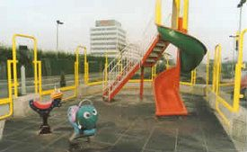 Rubber powders are used to provide a resilient surface on children's playgrounds