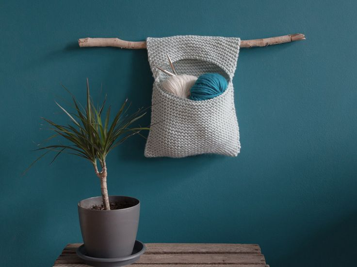 DIY-Anleitung: Wandtasche mit Aufhängung stricken via DaWanda.com