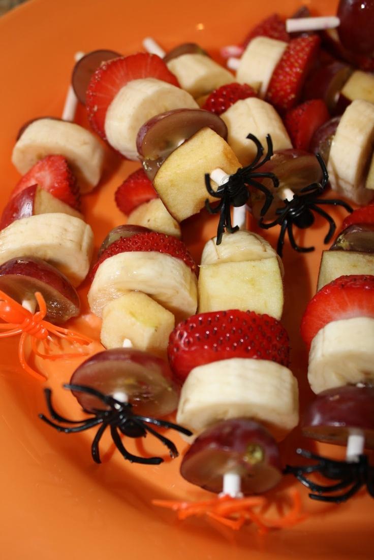 halloween fruit kabob - use plastic spider rings?