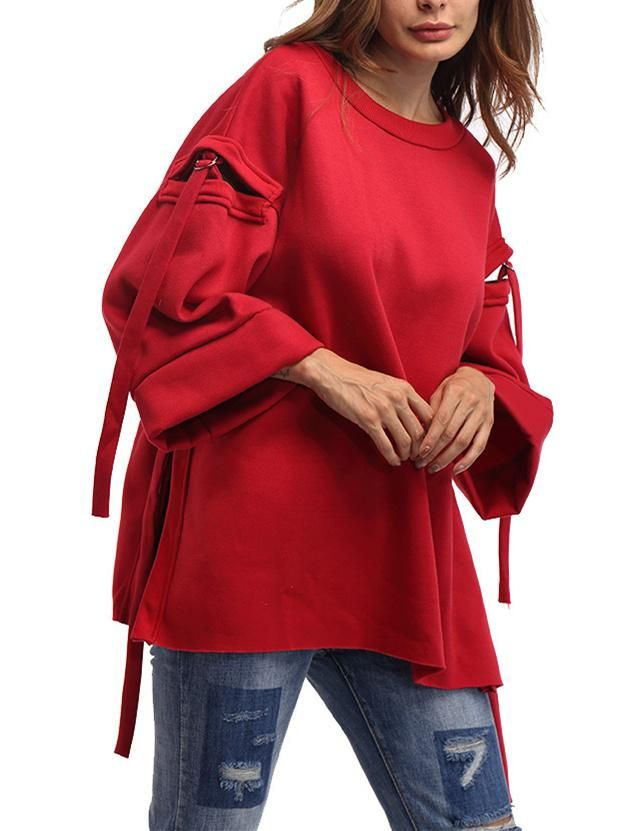 Asymmetric Flared Sleeves Blous&shirts Tops