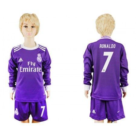 Real Madrid Trøje Børn 16-17 Cristiano #Ronaldo 7 Udebanetrøje Lange ærmer,222,01KR,shirtshopservice@gmail.com