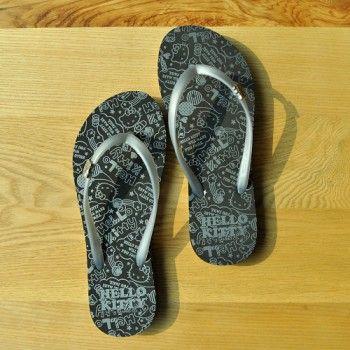 Hello Kitty Women's Flip Flop Slippers Thong Capri Shoes Silver-Black #914011
