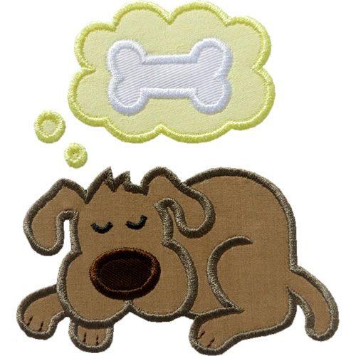 Sleeping Dog Applique by HappyApplique.com