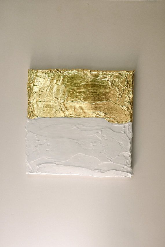 Modern contemporary gold white painting on canvas by VanDunDesign