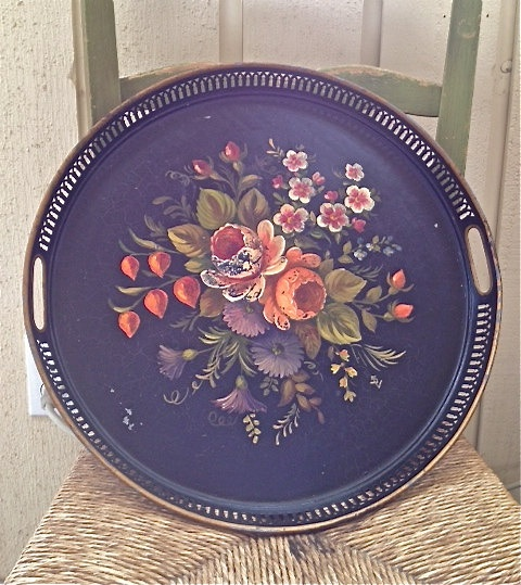 French Toleware floral tray  acrylic painting & Folk Art & tole painting  Pinterest ...