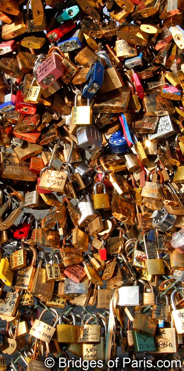 Book: Bridges of Paris by Michael Saint James. Now available at Amazon Thousands of locks have been attached to the bridges of Paris. On Pont des Arts, the original love-lock bridge, there is no more room on the railing so locks are locked to other locks creating a huge mass of metal.