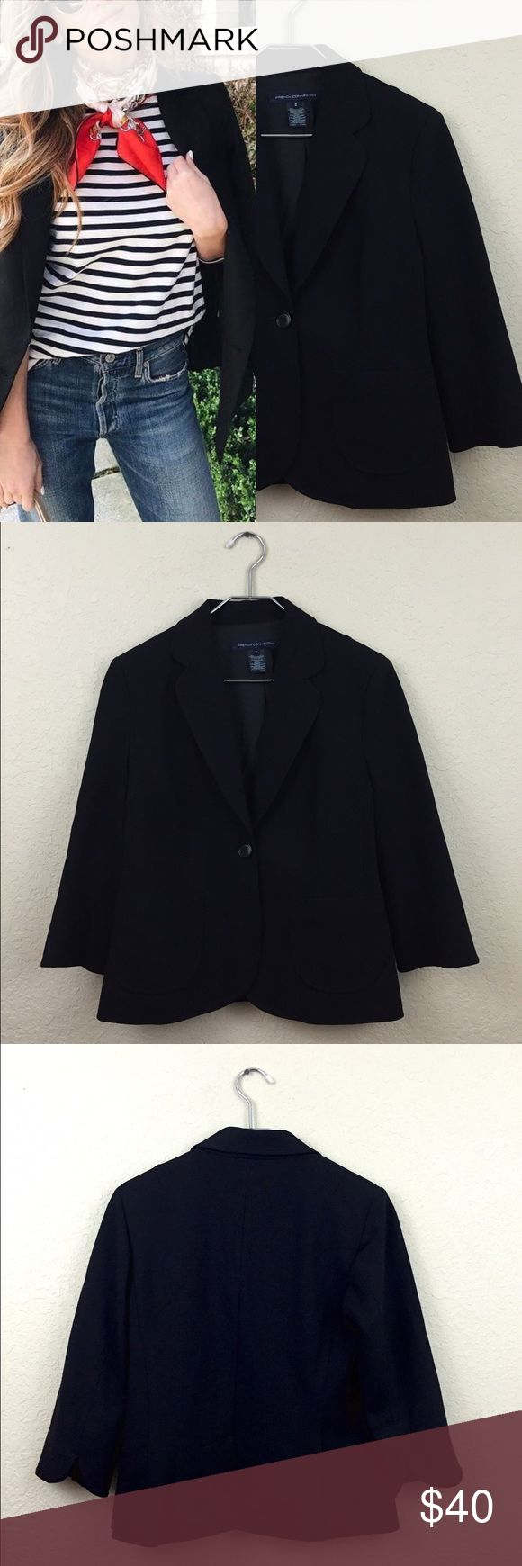 French connection blazer • French connection  • rayon viscoseblend  • No damages  • Size 8 • $190 • Fully lined • Quarter sleeve • Tulip hem sleeve French Connection Jackets & Coats Blazers