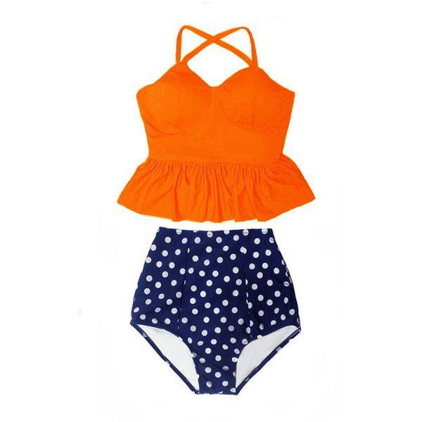 Orange Long Peplum Tankini Strap Straps Top and Polkadot Dots High... ($40) ❤ liked on Polyvore featuring swimwear, bikinis, grey, women's clothing, retro bikini, high-waisted bikini, retro high waisted bikini, high waisted swimsuit and tankini bathing suits
