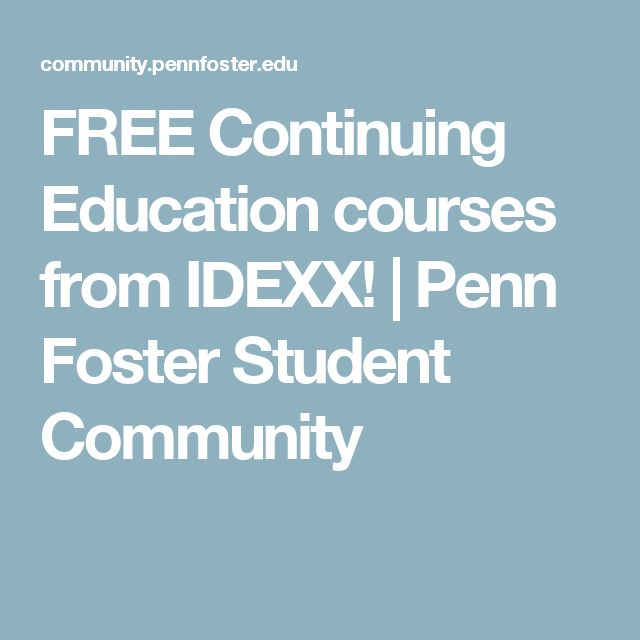 FREE Continuing Education Courses From IDEXX! | Penn Foster Student  Community