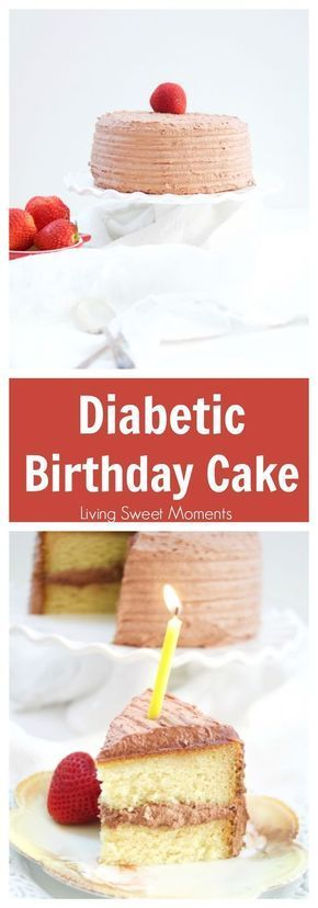 This delicious Diabetic Birthday Cake Recipe has a sugar free vanilla cake with sugar free chocolate frosting. A decadent and tasty dessert for everyone! More on livingsweetmoments.com