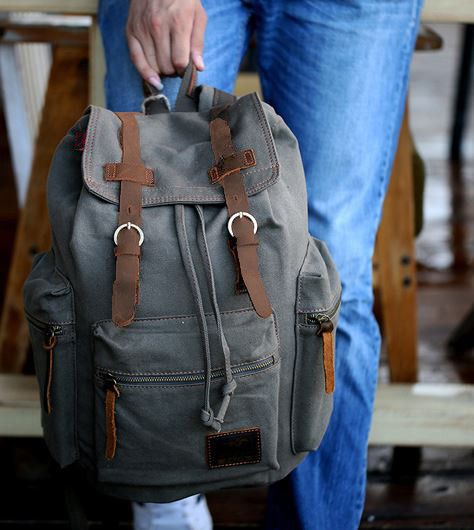 "Gray Casual Vintage School Hiking Canvas Backpack - 17"" Laptop Compartment"