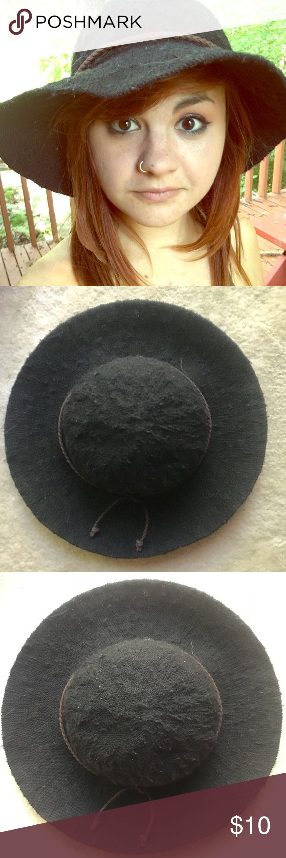 Black Flop Hat Black floppy hat with brown braided string warped around it from Forever 21. Great for laying on the beach, gardening, or just to add some style to your outfit! It's only been worn a few times and is in great condition. Forever 21 Accessories Hats