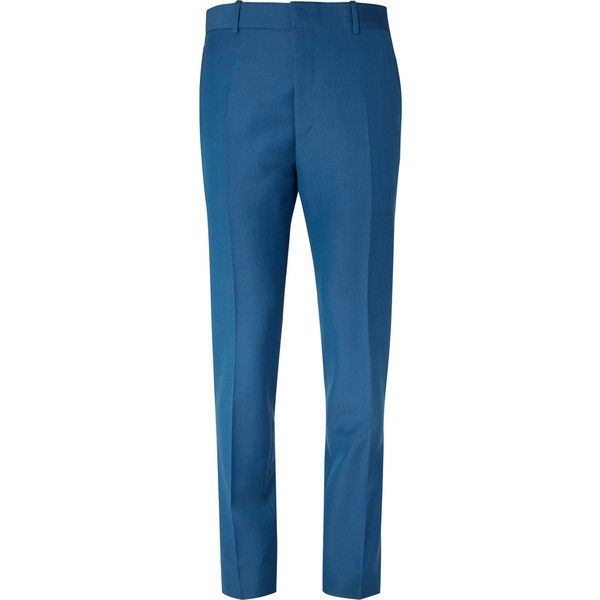 Alexander McQueen Cobalt Slim-Fit Wool and Mohair-Blend Suit Trousers ($720) ❤ liked on Polyvore featuring men's fashion, men's clothing, men's pants, men's dress pants, mens slim fit pants, mens wool dress pants, mens slim fit dress pants, mens slim fit wool dress pants and mens slim pants