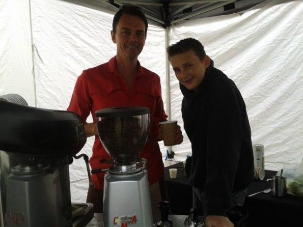 Adelaide Hills Farmers Market Producer - The Coffee Pedlar, Anthony & son Connor.