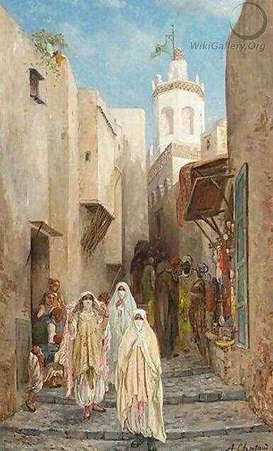 Algérie - Peintre FrançaisAlfred CHATAUD(1833-1908), ,Huile sur toile, Titre: Femmes dans la  Casbah