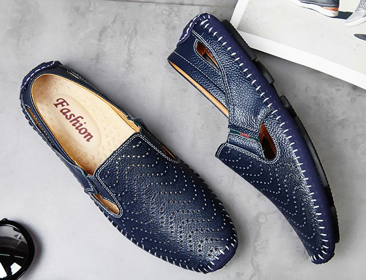 US $27 Big Size Men Driving Shoes Genuine Leather Good Quality Soft Men Loafers Comfortable Brown Yellow Blue White Plus Size 45 46 47