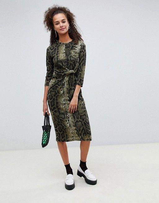 34becf9350e1b Bershka snake print knot side midi dress | Mine. | Dresses, Fashion ...