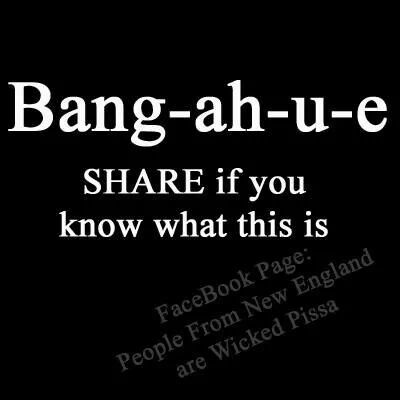 Bang-ah-u-ee  Absolutely love the look on peoples' faces when a New Englander says this.  Translation:  Make a U-turn.