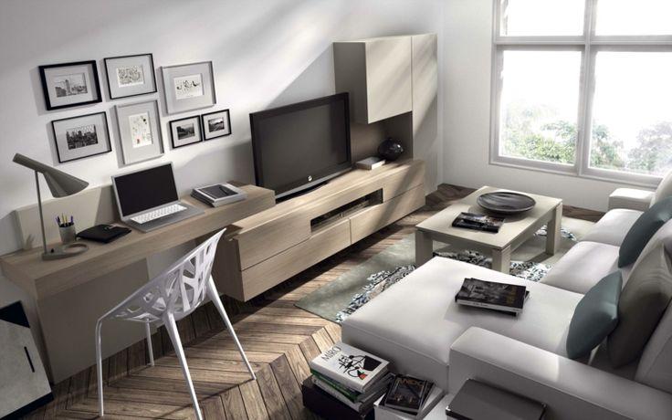 coin bureau en bois massif dans le salon, canapé d'angle gris taupe et meuble télé assorti