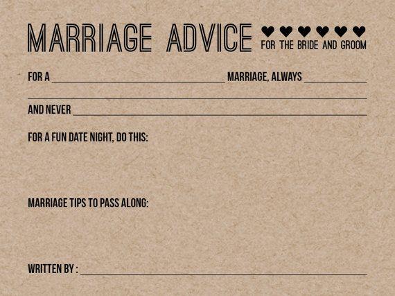 Wedding Advice Cards Bride And Groom Advice Cards Wedding
