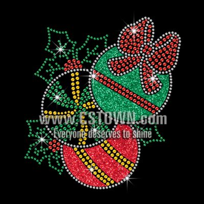 glittering christmas baubles iron on rhinestone transfer motif