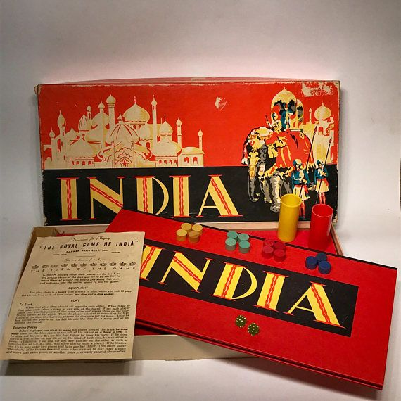 Vintage India Board Game 1940 Parker Brothers Deco Almost Board