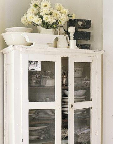 Beautiful Cottage Chic white cabinet to store kitchen & Dining Dishes & Stemware...