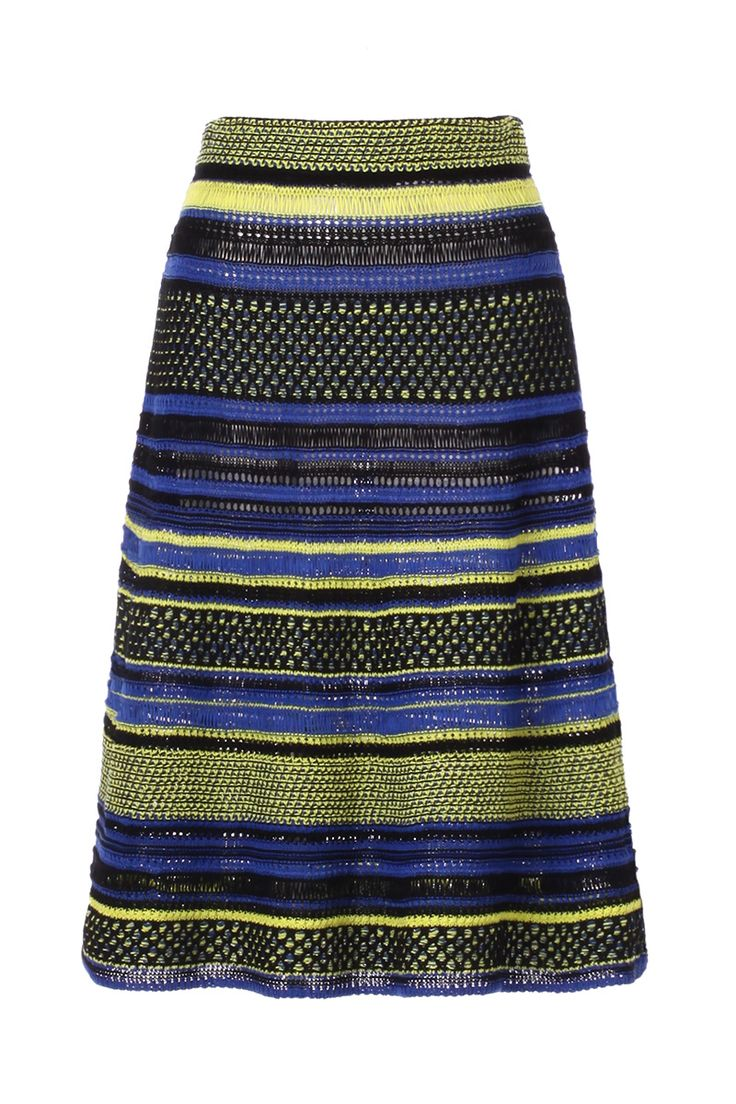 M-Missoni - BLUE & LIME CROCHET STRIPE SKIRT