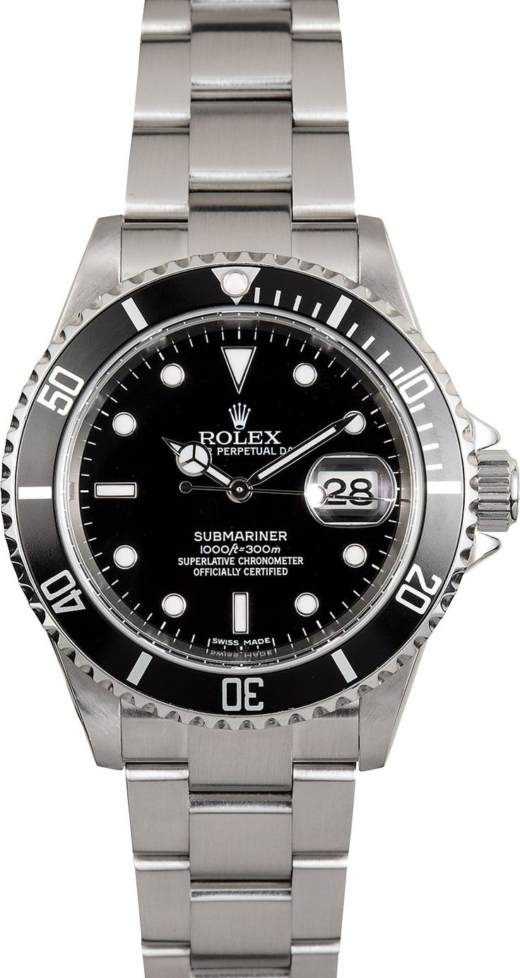 Manufacturer: Rolex   Model:: Submariner 16610   Serial/Year: Z 2006-2007   Grade: (What's This?) II   Gender: Men's   Features: Automatic movement, waterproof screw-down crown, unidirectional rotatable time-lapse diver's bezel, scratch-resistant sapphire crystal   Case: Stainless steel (40mm), no holes   Dial: Black w/ luminescent hour markers   Bracelet: Stainless steel Oyster   Box & Papers Original Rolex box, booklets, hang tags, polishing cloth, and pa...
