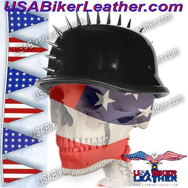 Spiked German Novelty Motorcycle Helmet in Gloss Black / SKU USA-H402-02-DL