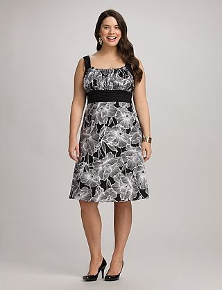 Plus SIze Black and White Floral Dress