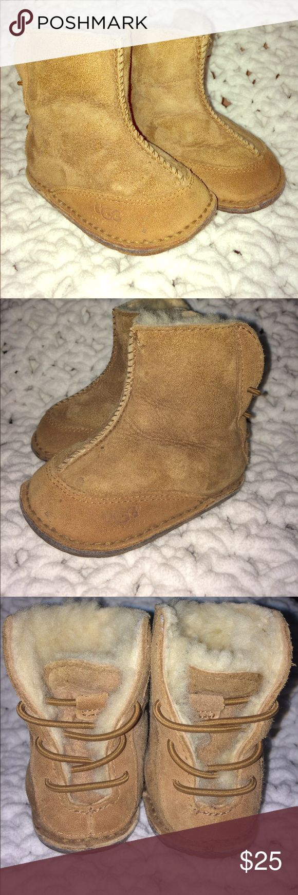 UGG Baby Booties Genuine Sheepskin Camel Color Barely used baby booties UGG. My son grew out of them before I could even put them on for the second time. So my loss is your gain. The retail price is around $69 UGG Shoes Baby & Walker