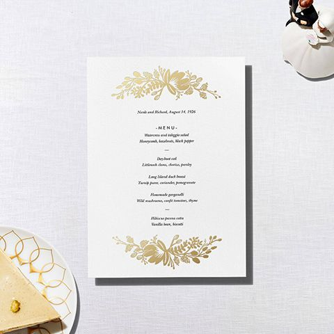 Floral Silhouette (Menu) - White/Gold - Paperless Post
