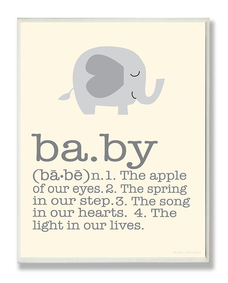 Gray Elephant Baby Typography Graphic Art Plaque