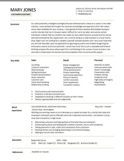 a customer assistant cv example in a modern design