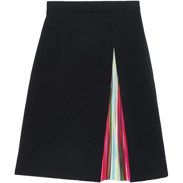 MARY KATRANTZOU Nema Black Rainbow Multi // Crepe skirt with striped... found on Polyvore featuring skirts, striped pleated skirt, black pleated skirt, black skirt, knee high skirts と stripe skirt