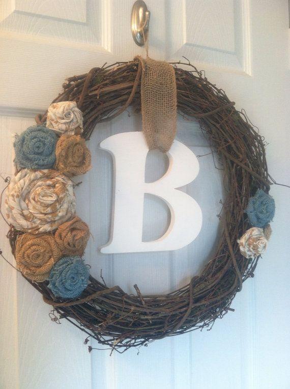 "18"" Grapevine and Burlap Rosette Wreath, ALL Season Wreath, Personalized Burlap Rosette Wreath,   on Etsy, $38.00"