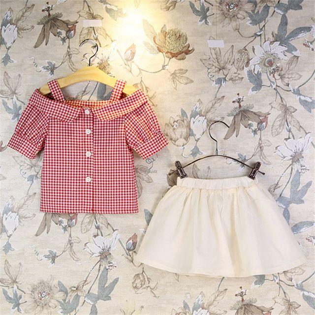 2016 Moda Verão Crianças Conjunto de Roupas Meninas Xadrez único breasted Tops Roupas Saia Peças Ternos Do Bebê 2 Twinset Roupa dos miúdos