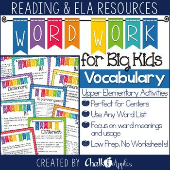 It can be so hard to find appropriate, challenging word work for big kids in the intermediate grades... These activities are perfect word work for big kids to use with Daily 5 or in literacy centers for upper elementary students. Just print, laminate, and place in your Word Work center for easy student instructions!