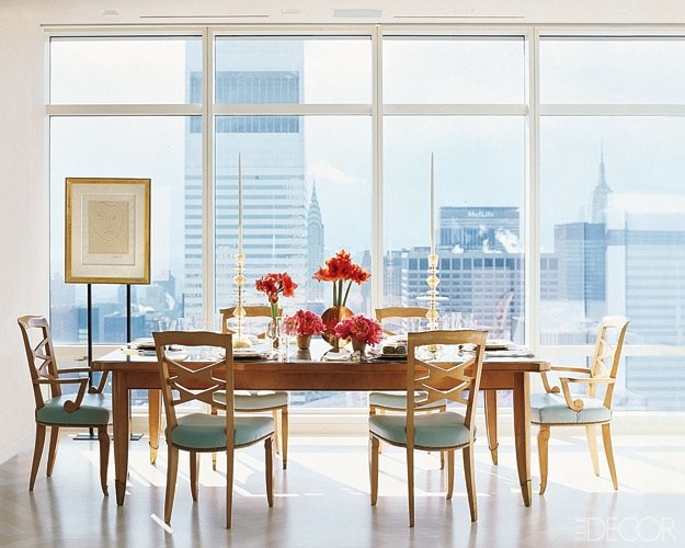 Dining with a viewDining Rooms, Dreams Apartments, Elle Decor, The View, Albert Hadley, Interiors Design, Dreams Dining Room, French Chairs, Dining Tables