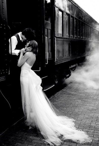 the black and white makes this timeless, except for the dress of course. But I love the surroundings of the two models and how they were placed...you can feel their connection by it.